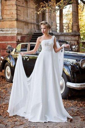 Abito da Sposa Allacciato con Perline Monospalla Senza Maniche Alta Vita 6aa23a6b420
