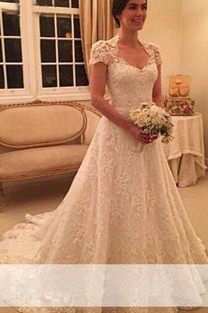 862b3aae7a7f Abito da Sposa con Manica Corte Naturale Principessa Coda A Strascico Corto  Cuore