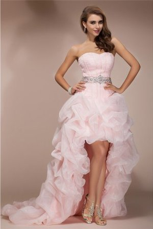 Abito Homecoming Naturale Cerniera Principessa in Organza con Perline