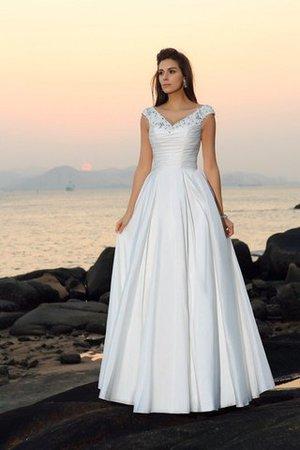 6b38f7b6ccc2 Abito da Sposa Principessa A Terra con Perline Senza Maniche a Spiaggia