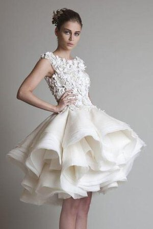 Abito da Sposa in Organza con Increspature in Pizzo Alta Vita A-Line