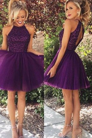 Abito da Cocktail Principessa Mini in Tulle con Perline Senza Maniche