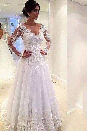 Abito da Sposa in Tulle con Maniche Lunghe Ball Gown Allacciato Naturale bdbdbeaecf1