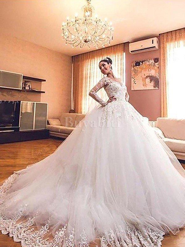 Vestiti Da Sposa Pomposi.Abito Da Sposa In Tulle V Scollo Radiosa Con Maniche Lunghe Coda A